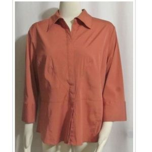 CATO Coral Orange Stretch Blend Tailored Shirt XL